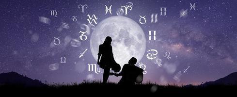 signos astrológicos do zodíaco dentro do círculo do horóscopo foto