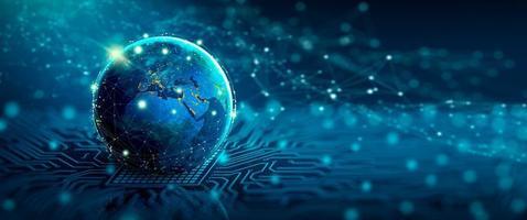 rede social global e conceito de conexão de negócios foto