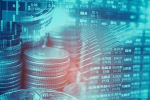 investimento no mercado de ações negociação financeira, moeda e gráfico gráfico ou forex para analisar o fundo de dados de tendência de negócios de finanças de lucro. foto