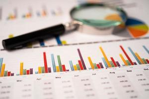 lupa em papel de gráficos de tabelas. desenvolvimento financeiro, conta bancária, estatísticas, economia de dados de pesquisa analítica de investimento, negociação em bolsa de valores, conceito de reunião de empresa de escritório de negócios. foto