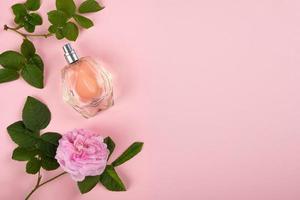 perfume com aroma de rosa em fundo rosa com espaço de cópia foto