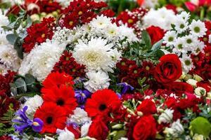 flores colocadas irregularmente em várias cores, fundo floral multicolorido - imagem foto