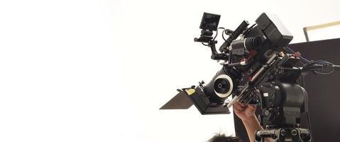 por trás da equipe de produção de filmagem foto