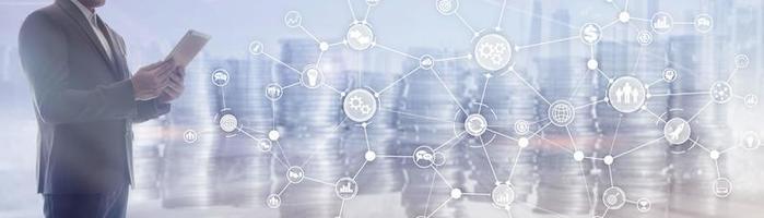 rede de comunicação. plano de negócios panorâmico horizontal. estrutura organizacional em banner virtual. foto