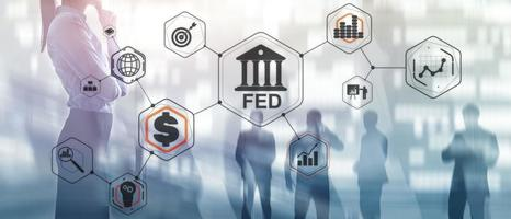 sistema de reserva Federal. alimentado. fundo de negócios financeiros. foto
