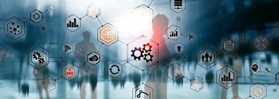 engrenagens ícones engenharia de fabricação automação inovação estrutura conceito abstrato. foto