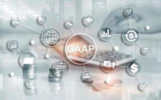princípios contábeis geralmente aceitos legislação governamental nacional regulamentação de finanças de negócios. foto