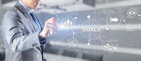 conceito de suporte de negócios de estratégia de objetivos de trabalho em equipe. foto