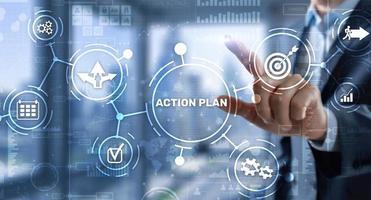 conceito de estratégia de plano de ação empresarial na tela virtual. gerenciamento de tempo foto