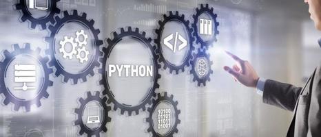 linguagem de programação python. programação do conceito de algoritmo abstrato de fluxo de trabalho na tela virtual foto