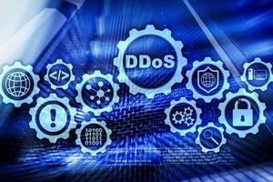 ataque cibernético de ddos. conceito de tecnologia, internet e rede de proteção. fundo do datacenter do servidor foto