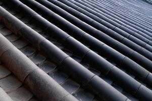 telhado de tijolo preto em chinês antigo tradicional foto