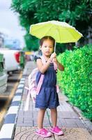 menina com guarda-chuva e mochila caminhando no parque, pronta para voltar às aulas em dia de chuva foto