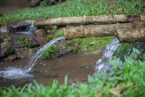 água natural está fluindo do tubo de bambu para a agricultura foto