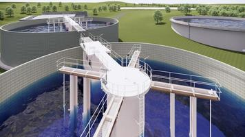 modelo 3d de tanque de água de estação de tratamento de águas residuais foto