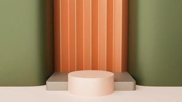 fundo abstrato. caixa mínima e pódio curvado geométrico. cena com formas geométricas. vitrine vazia para apresentação de produtos cosméticos. Revista de moda. 3d render foto