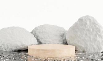 pódio de pedra branca, estande de produtos de exibição com fundo de reflexão de água. Renderização 3d foto