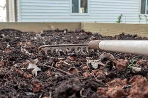 pequena horta preparada para semear na primavera foto