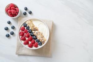 tigela de iogurte caseiro com framboesa, mirtilo e granola - estilo de comida saudável foto