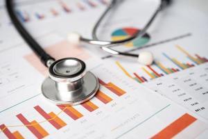 estetoscópio no gráfico de papel milimetrado, finanças, conta, estatística, conceito de negócio de economia analítica. foto