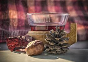uma xícara de vinho quente em uma mesa com frutas de outono ao redor foto