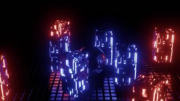 4k uhd ilustração 3D de bola de metal perto de blocos de néon foto
