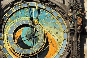 detalhe do histórico relógio astronômico medieval em praga na antiga prefeitura, república checa foto