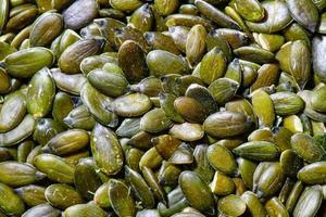detalhe de algumas sementes de abóbora foto