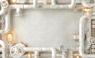 lâmpada steampunk do loft de parede branca de fundo de tubos foto