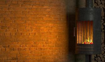 lareira de fundo interior de loft em parede de tijolo velha foto