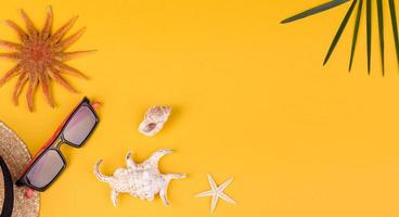 acessórios de praia com conchas e estrelas do mar em um fundo colorido foto