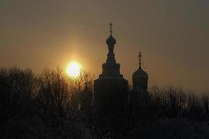 silhueta da catedral do salvador no sangue derramado, st. Petersburgo, Rússia foto