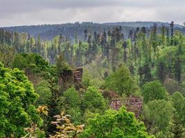 ruínas do castelo medieval de nidek nas montanhas vosges, alsácia foto
