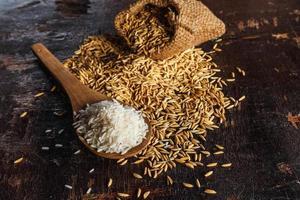 arroz cozido no vapor cru e arroz em casca em fundo de madeira foto