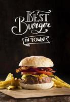 promoção de pub com hambúrguer delicioso. conceito de foto bonita de alta qualidade