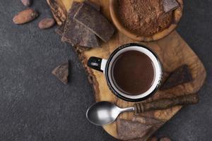 xícara de vista de cima com chocolate quente. conceito de foto bonita de alta qualidade