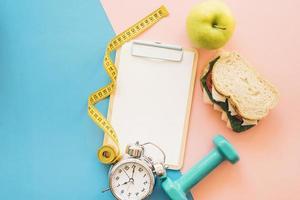 composição de perda de peso com alimentos saudáveis. conceito de foto bonita de alta qualidade