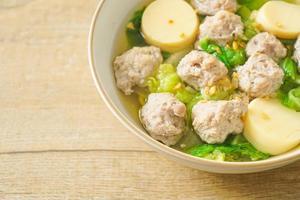 sopa clara com tofu e carne de porco picada foto