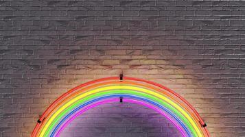 lâmpada de néon do arco-íris na parede de tijolos. Renderização 3D foto