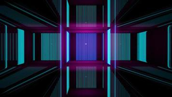 Renderização 3D, linhas abstratas de néon rosa azul foto