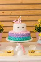 bolo de aniversário com tema unicórnio foto