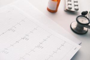 comprimidos médicos de prescrição em um diagrama de cardio. foto