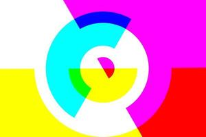 círculo geométrico abstrato sobreposto a cores cmyk foto