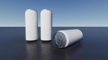 imagem maquete de renderização em 3d de latas brancas e prateadas. foto