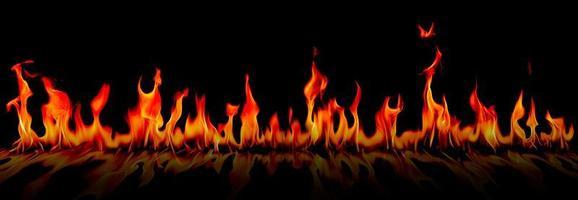 fogo chamas em fundo preto de arte abstrata, foto