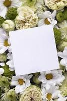 vista de cima lindas flores com moldura em branco foto