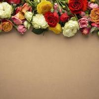 plano de flores desabrochadas lindamente com espaço de cópia foto