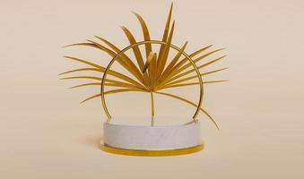 pódio de exposição do produto com folha de palmeira foto
