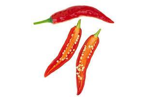 close-up red hot chili spur pepper foto