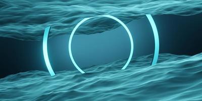 moldura do círculo e anel geométrico da cena do estúdio da superfície da água foto